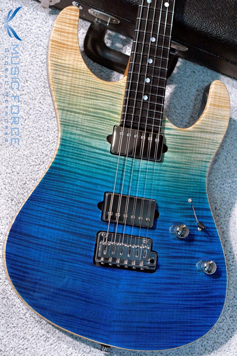 Suhr Custom Modern Carve Top HH FMT-Custom Color Aqua Blue Gradient w/Ebony FB & Match Figured Headstock(2018년산/신품)